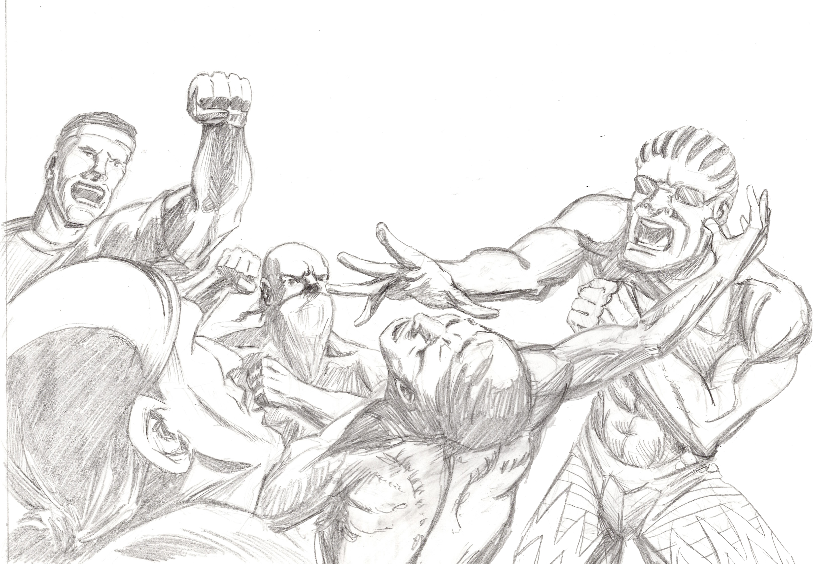 Tied Down Pencil Drawing of a Gang Fight